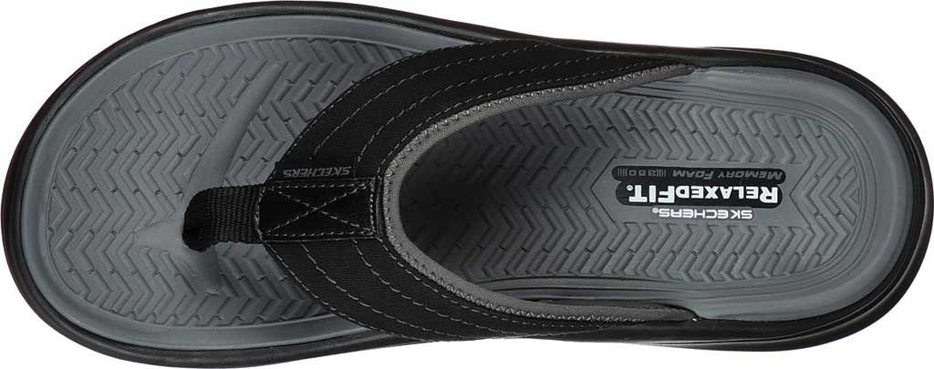 Men's Skechers Relaxed Fit Sargo Reyon Flip Flop, Black, large, image 4