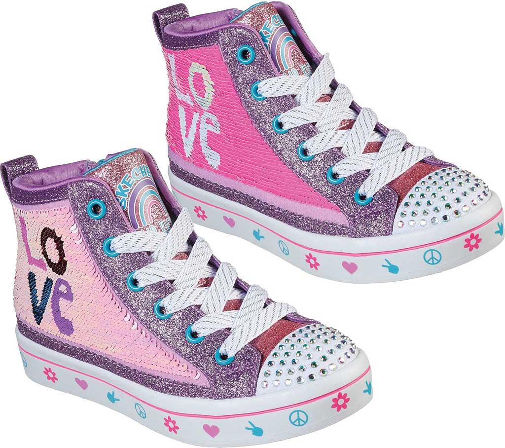 Girls' Skechers Twinkle Toes Twi-Lites 2.0 Lilac Love Sneaker, Lavender/Multi, large, image 2