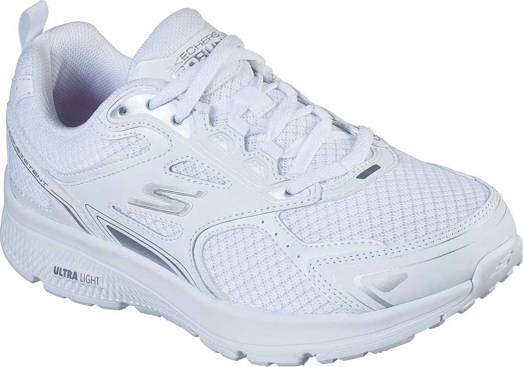 Women's Skechers GOrun Consistent Running Shoe, White/Silver, large, image 1