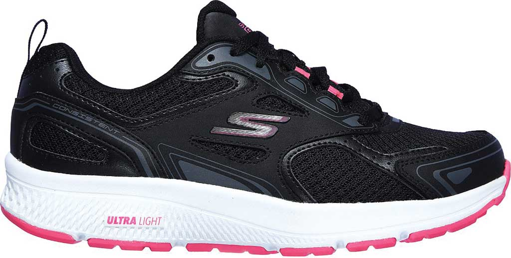 Women's Skechers GOrun Consistent Running Shoe, Black/Pink, large, image 2