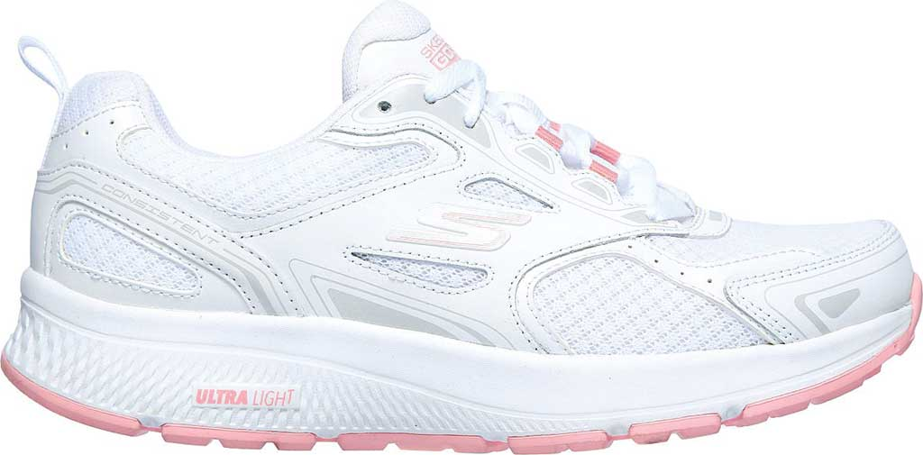 Women's Skechers GOrun Consistent Running Shoe, White/Pink, large, image 2