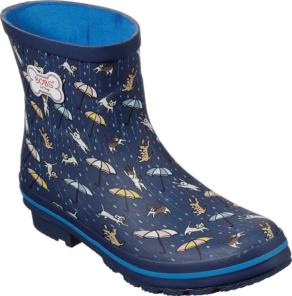 Women's Skechers BOBS Rain Check Puddle Paws Rain Boot, Navy/Multi, large, image 1
