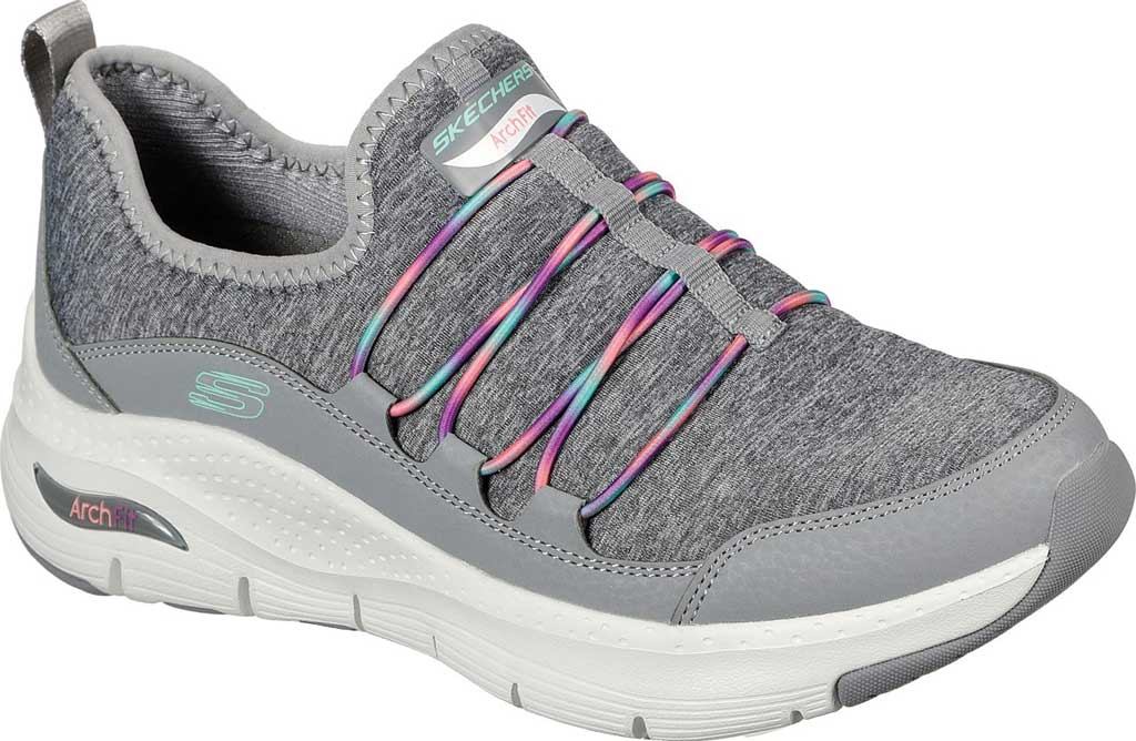 Women's Skechers Arch Fit Rainbow View Slip On, Gray/Multi, large, image 1