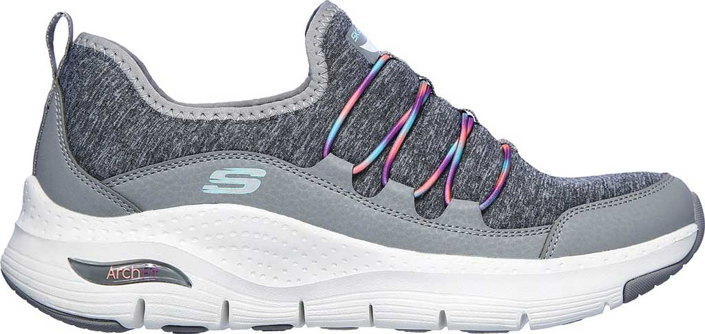 Women's Skechers Arch Fit Rainbow View Slip On, Gray/Multi, large, image 2