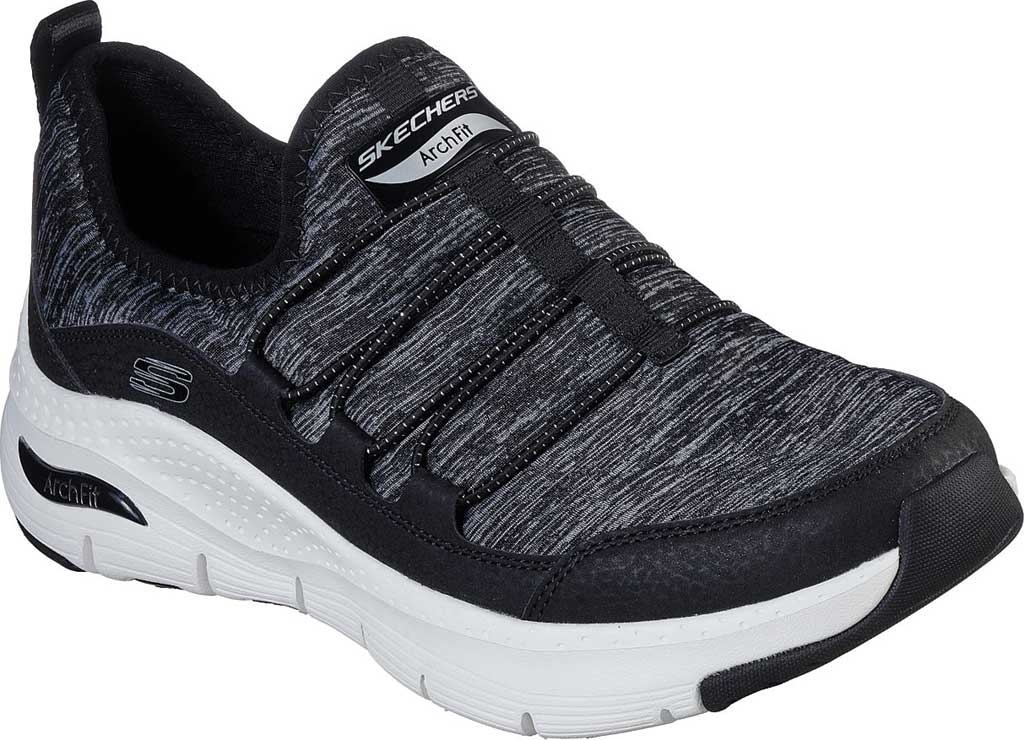 Women's Skechers Arch Fit Rainbow View Slip On, Black/White, large, image 1