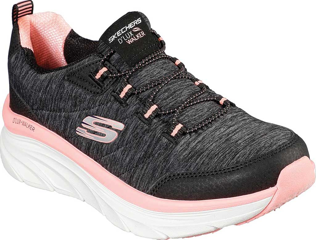 Women's Skechers Relaxed Fit D'Lux Walker Cross Motion Sneaker, Black/Coral, large, image 1