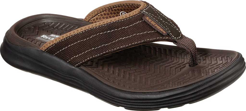 Men's Skechers Relaxed Fit Sargo Wolters Flip Flop, Chocolate, large, image 1