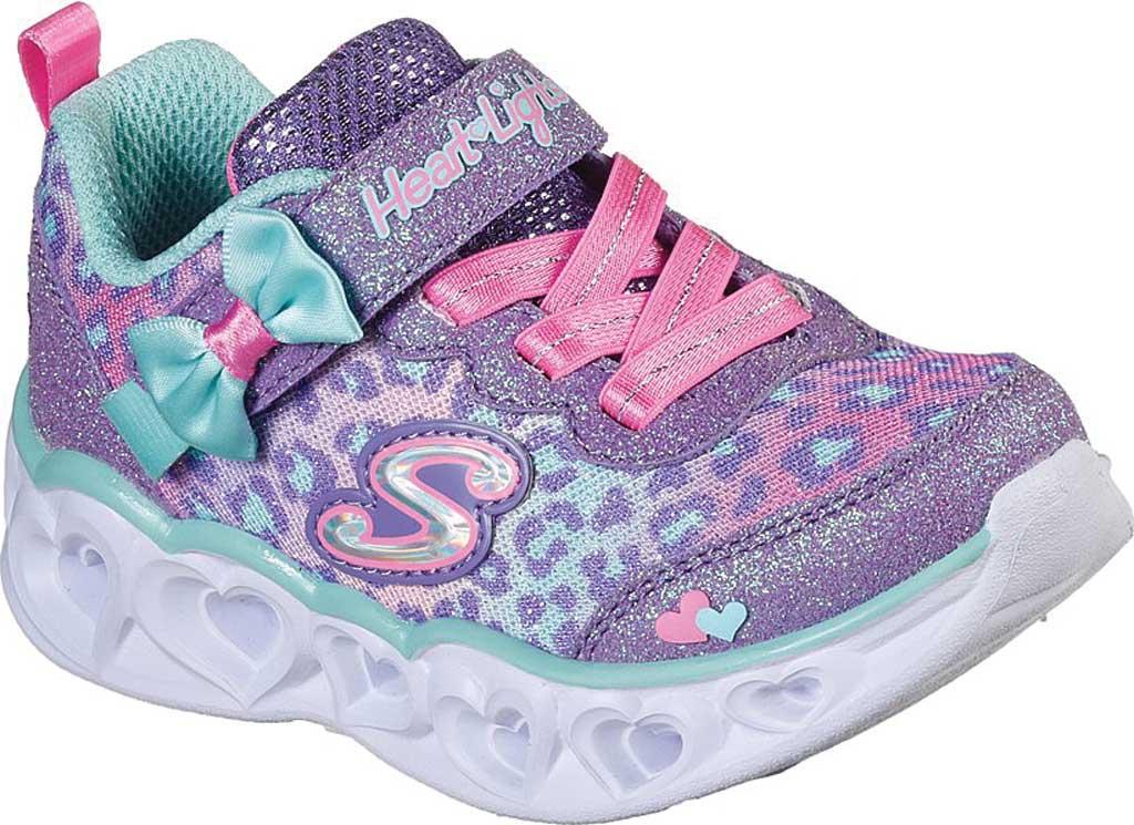 Infant Girls' Skechers S Lights Heart Lights Untamed Heart Sneaker, Lavender/Aqua, large, image 1