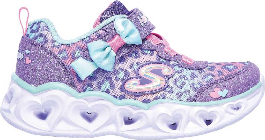 Infant Girls' Skechers S Lights Heart Lights Untamed Heart Sneaker, Lavender/Aqua, large, image 2