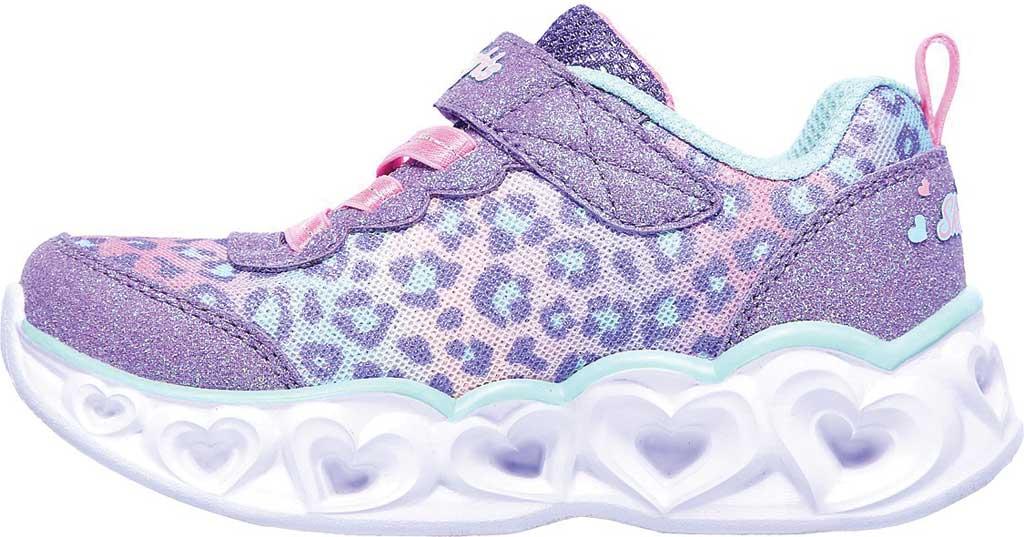 Infant Girls' Skechers S Lights Heart Lights Untamed Heart Sneaker, Lavender/Aqua, large, image 3