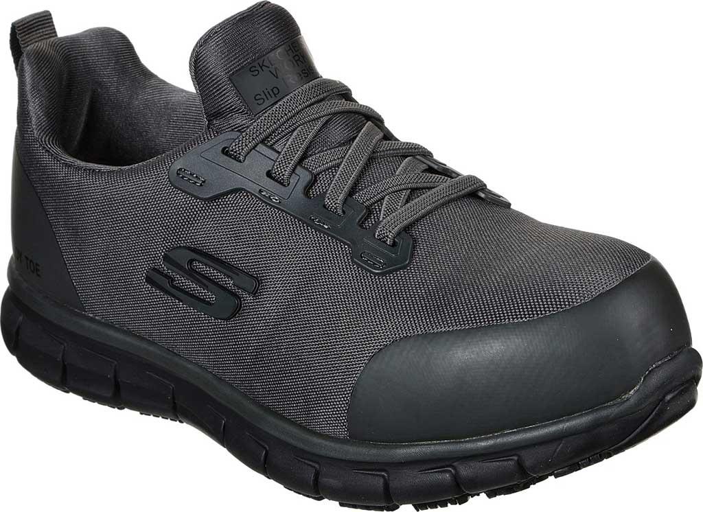 Women's Skechers Work Sure Track Irmo Alloy Toe Sneaker, Charcoal, large, image 1