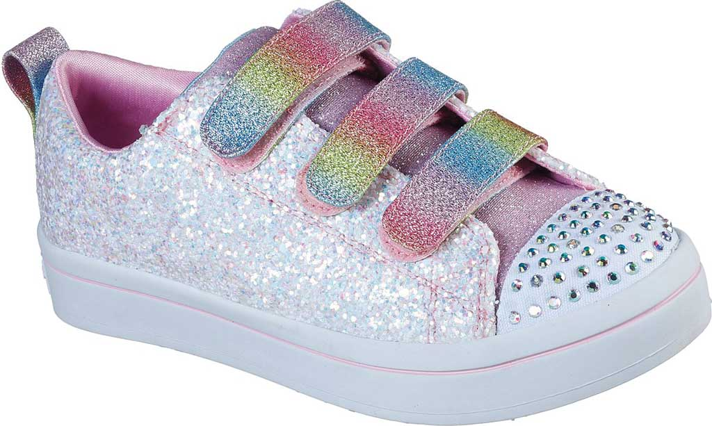 Girls' Skechers Twinkle Toes Twi-Lites Glitter Glitz Sneaker, White/Multi, large, image 1