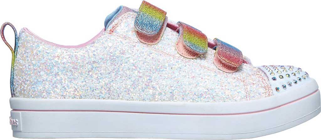 Girls' Skechers Twinkle Toes Twi-Lites Glitter Glitz Sneaker, White/Multi, large, image 2