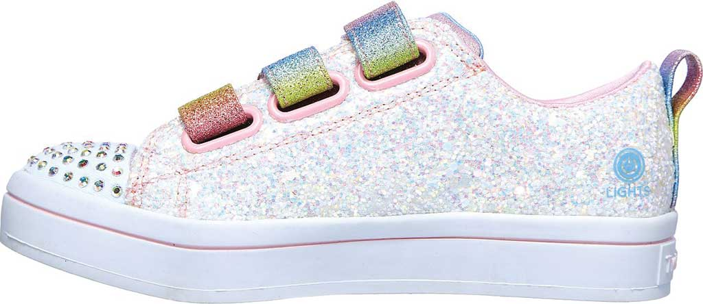 Girls' Skechers Twinkle Toes Twi-Lites Glitter Glitz Sneaker, White/Multi, large, image 3