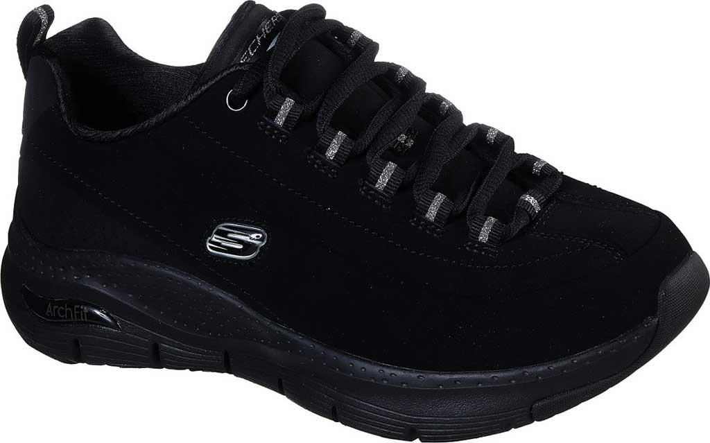 Women's Skechers Arch Fit Metro Skyline Sneaker, Black/Black, large, image 1
