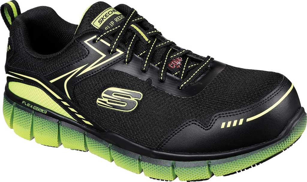 Men's Skechers Work Telfin Rieg Comp Toe Sneaker, Black/Lime, large, image 1
