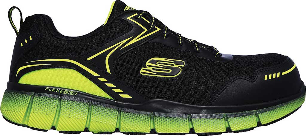 Men's Skechers Work Telfin Rieg Comp Toe Sneaker, Black/Lime, large, image 2