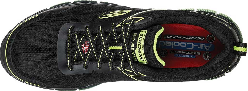 Men's Skechers Work Telfin Rieg Comp Toe Sneaker, Black/Lime, large, image 4