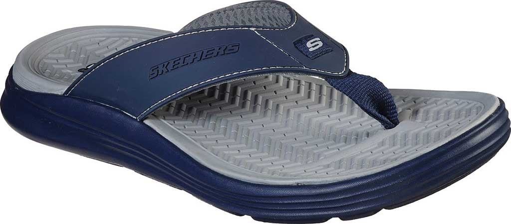 Men's Skechers Relaxed Fit Sargo Sunview Flip Flop, Navy/Gray, large, image 1