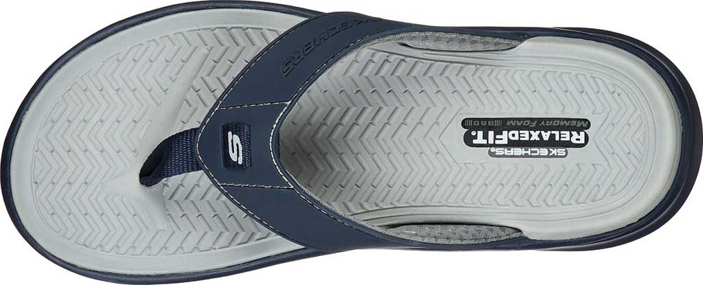 Men's Skechers Relaxed Fit Sargo Sunview Flip Flop, Navy/Gray, large, image 4