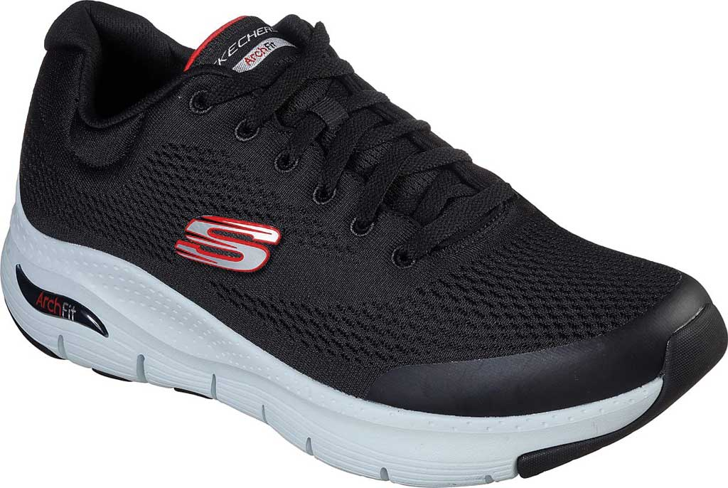 Men's Skechers Arch Fit Sneaker, Black/Red, large, image 1
