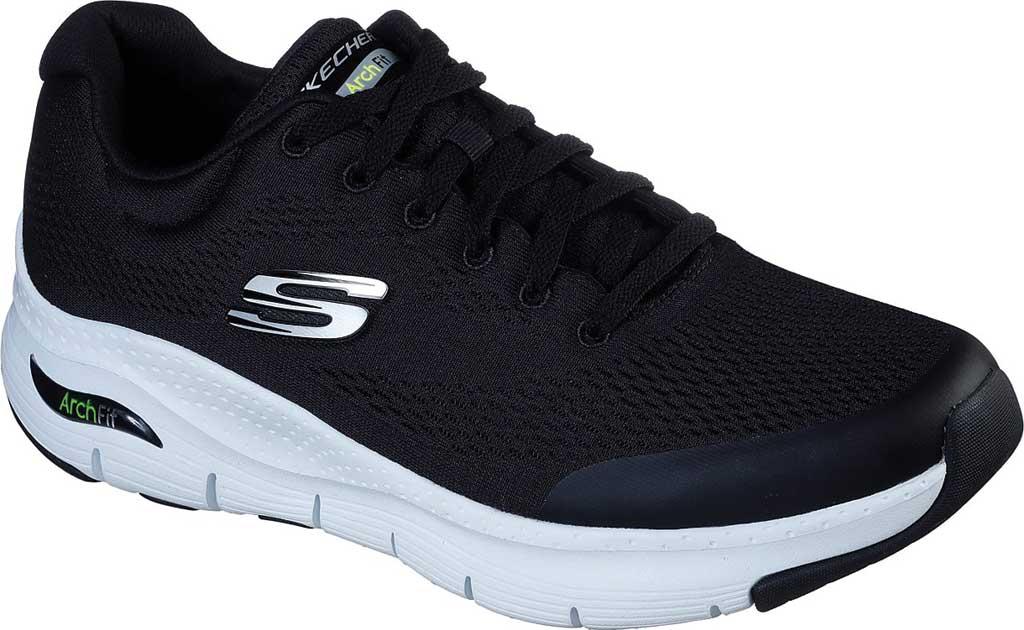 Men's Skechers Arch Fit Sneaker, Black/White, large, image 1