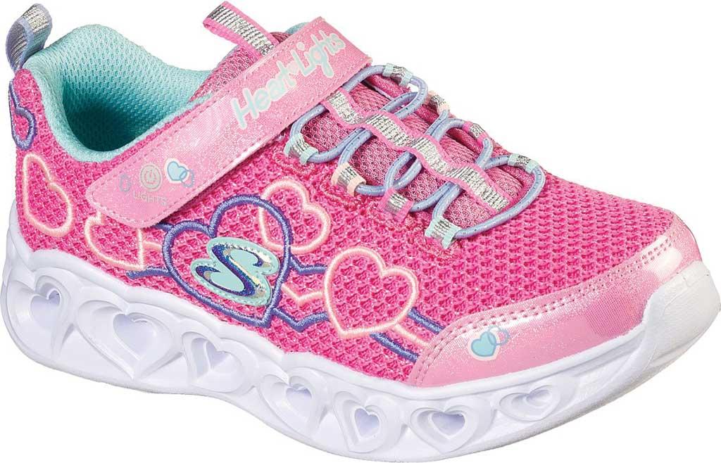 Girls' Skechers S Lights Heart Lights Love Mania Sneaker, Pink/Multi, large, image 1