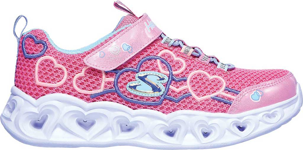 Girls' Skechers S Lights Heart Lights Love Mania Sneaker, Pink/Multi, large, image 2
