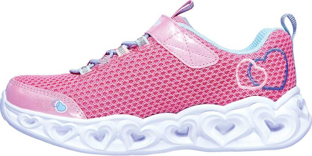 Girls' Skechers S Lights Heart Lights Love Mania Sneaker, Pink/Multi, large, image 3