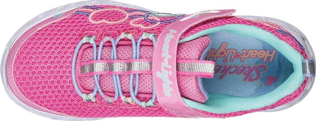 Girls' Skechers S Lights Heart Lights Love Mania Sneaker, Pink/Multi, large, image 4