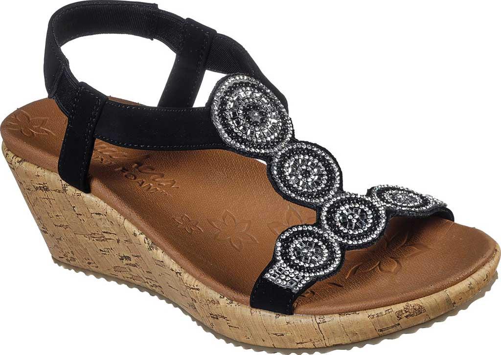 Women's Skechers Beverlee Date Glam Wedge Sandal, Black, large, image 1