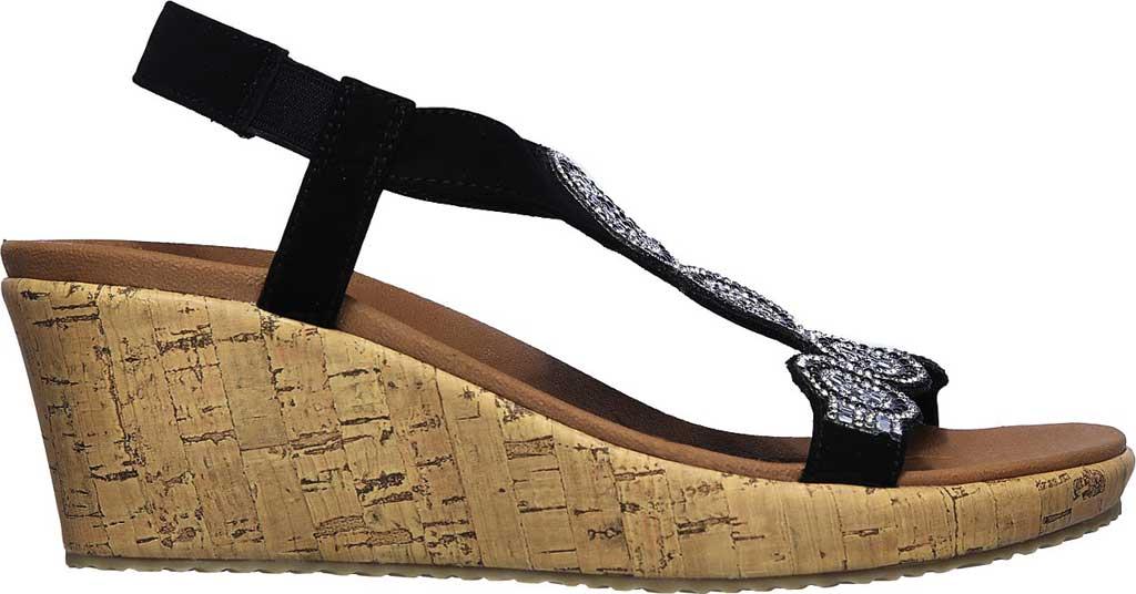 Women's Skechers Beverlee Date Glam Wedge Sandal, Black, large, image 2