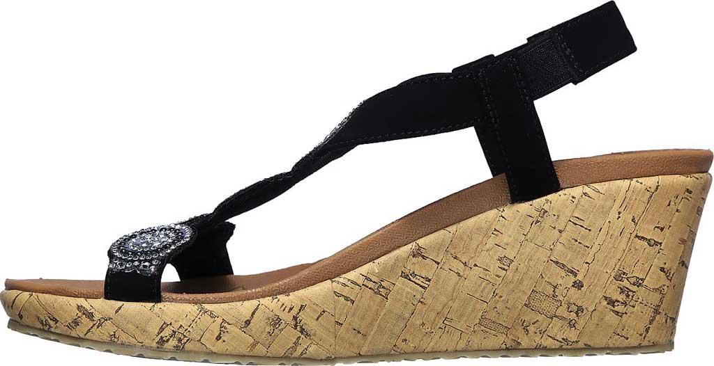 Women's Skechers Beverlee Date Glam Wedge Sandal, Black, large, image 3