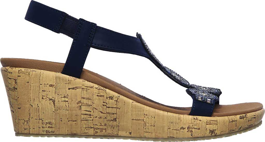 Women's Skechers Beverlee Date Glam Wedge Sandal, Navy, large, image 2