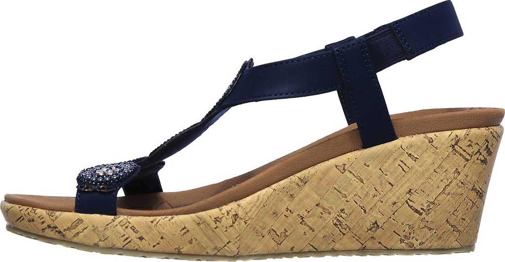 Women's Skechers Beverlee Date Glam Wedge Sandal, Navy, large, image 3