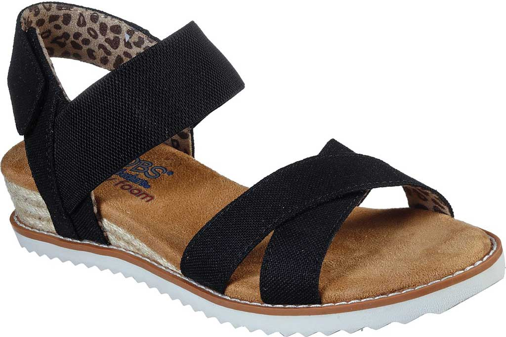 Women's Skechers BOBS Desert Kiss Secret Picnic Wedge Sandal, Black, large, image 1