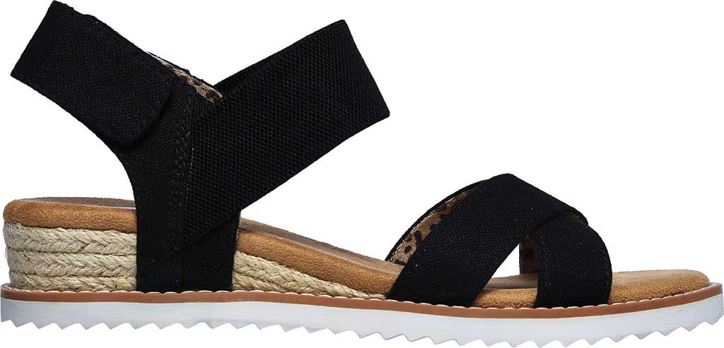 Women's Skechers BOBS Desert Kiss Secret Picnic Wedge Sandal, Black, large, image 2