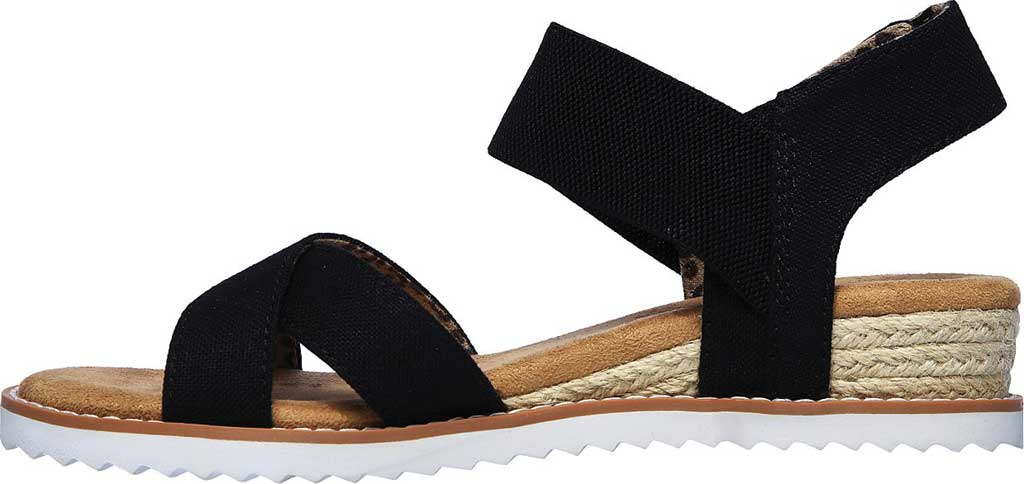 Women's Skechers BOBS Desert Kiss Secret Picnic Wedge Sandal, Black, large, image 3