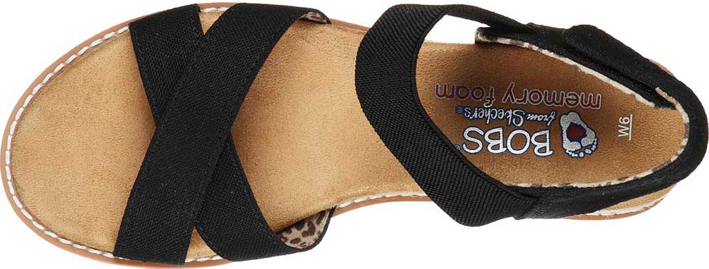 Women's Skechers BOBS Desert Kiss Secret Picnic Wedge Sandal, Black, large, image 4