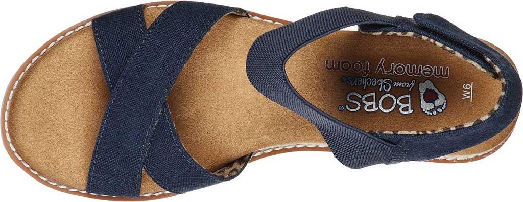 Women's Skechers BOBS Desert Kiss Secret Picnic Wedge Sandal, Navy, large, image 4
