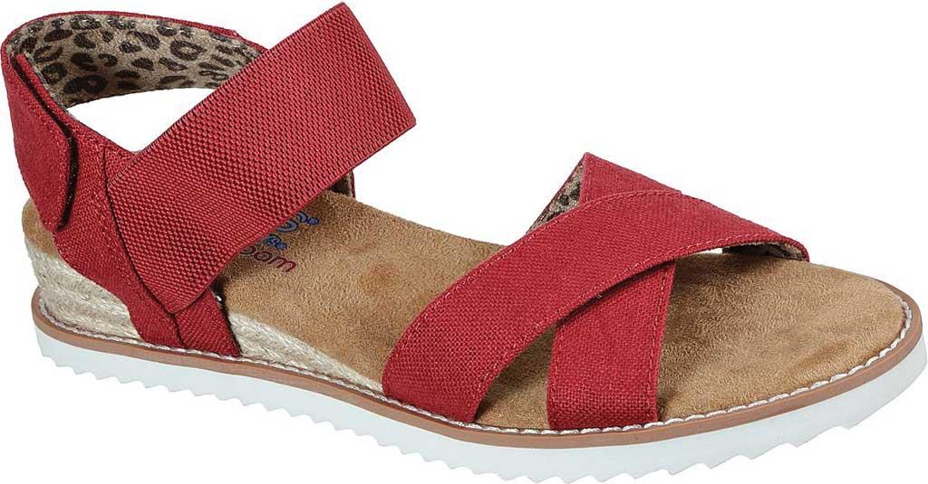 Women's Skechers BOBS Desert Kiss Secret Picnic Wedge Sandal, Red, large, image 1