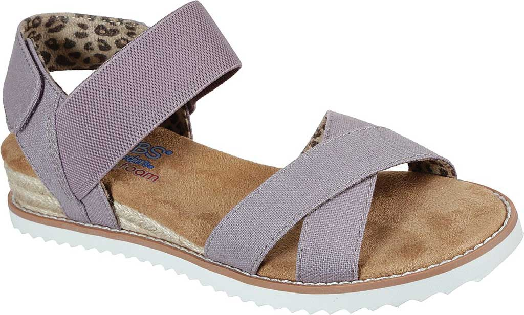 Women's Skechers BOBS Desert Kiss Secret Picnic Wedge Sandal, Mauve, large, image 1