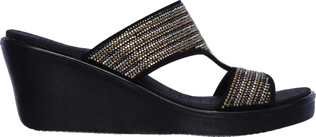 Women's Skechers Rumble On Bling Gal Wedge Sandal, Black/Multi, large, image 2