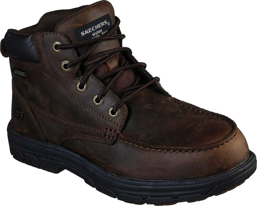 Men's Skechers Work Relaxed Fit Vickburk ST Boot, Chocolate Dark Brown, large, image 1