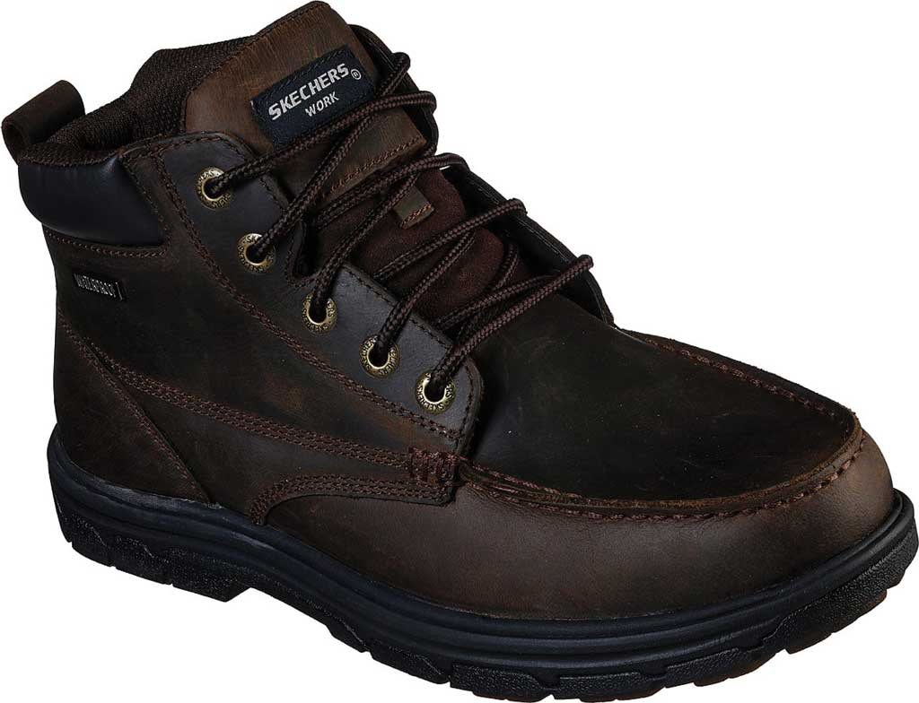 Men's Skechers Work Relaxed Fit Vicksburk Gentain WP Boot, Chocolate Dark Brown, large, image 1