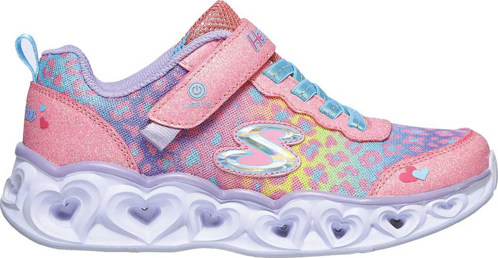 Girls' Skechers S Lights Heart Lights Love Match Sneaker, Pink/Multi, large, image 2