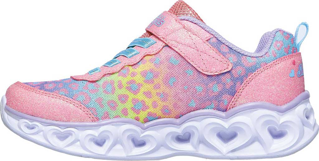 Girls' Skechers S Lights Heart Lights Love Match Sneaker, Pink/Multi, large, image 3