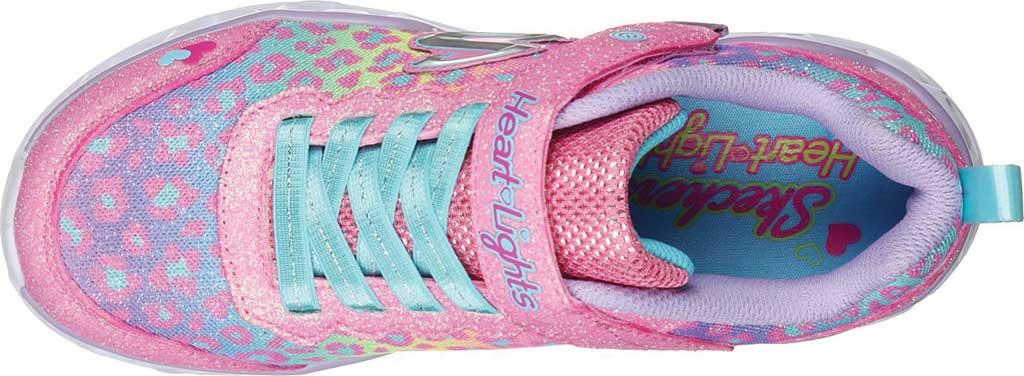 Girls' Skechers S Lights Heart Lights Love Match Sneaker, Pink/Multi, large, image 4