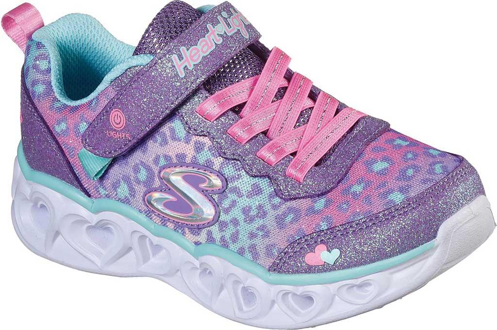 Girls' Skechers S Lights Heart Lights Love Match Sneaker, Lavender/Aqua, large, image 1