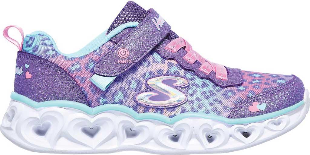 Girls' Skechers S Lights Heart Lights Love Match Sneaker, Lavender/Aqua, large, image 2